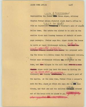 Primary view of object titled '[News Script: Alger home affair]'.