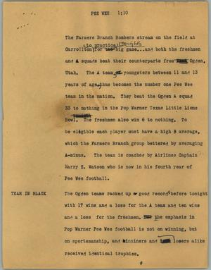 Primary view of object titled '[News Script: Pee Wee]'.