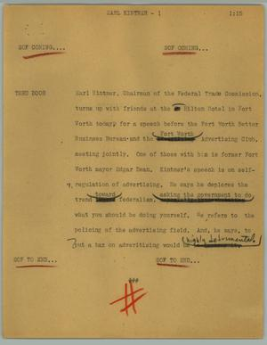 Primary view of object titled '[News Script: Earl Kinter]'.