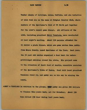 Primary view of object titled '[News Script: Game warden]'.