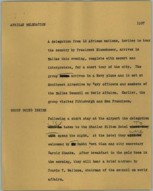 Primary view of object titled '[News Script: African delegation]'.
