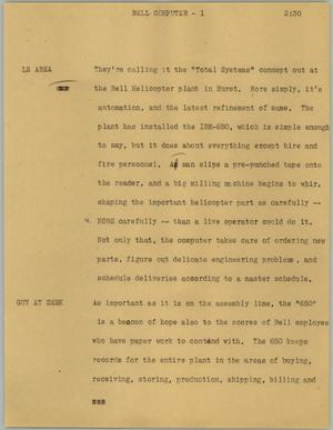 Primary view of object titled '[News Script: Bell Computer]'.
