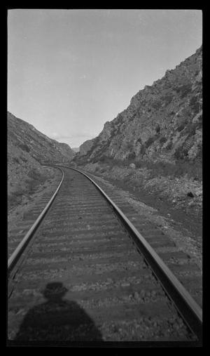 Primary view of object titled '[Train tracks running through mountains]'.