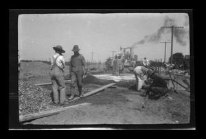 Primary view of object titled '[Construction workers on a construction site]'.