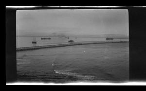 Primary view of object titled '[A water scene with ships in the distance]'.