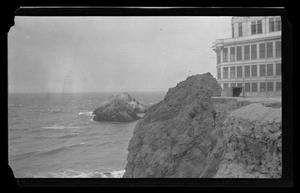 Primary view of object titled '[A view of the ocean with the Cliff House in view]'.