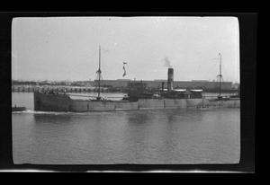 Primary view of object titled '[A ship in a port]'.