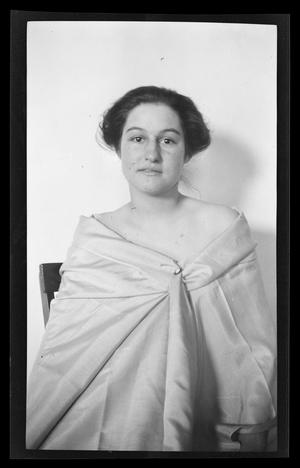 Primary view of object titled '[Portrait of Irene Biffle Williams, wearing a sheet]'.