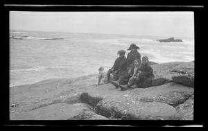 Primary view of object titled '[Photo of Byrd III, Irene, Charles, and John Williams sitting on a rocky shore]'.