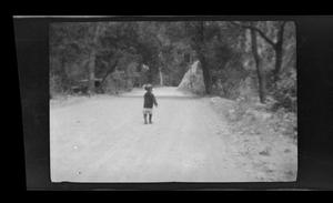 Primary view of object titled '[A small child standing on a road in the woods]'.
