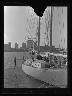 Primary view of object titled '[Photo of a sailboat in a harbor]'.