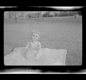 Primary view of object titled '[A photo of a doll on a blanket]'.