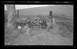 Primary view of object titled '[John, Charles, Irene, and Byrd Williams III having a picnic]'.