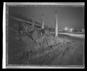 Primary view of object titled '[Construction of a bridge at night]'.