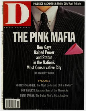 Primary view of object titled '[D Magazine clippings: The Pink Mafia, How Gays Gained Power and Status in the Nation's Most Conservative City]'.