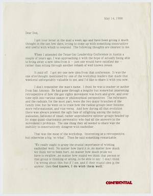 Primary view of object titled '[Letter from Mike Anglin to Don Baker regarding recent upsets within the gay community]'.