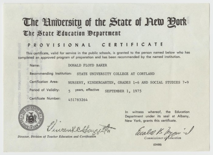 Provisional Certificate of Education for Don Baker from The ...