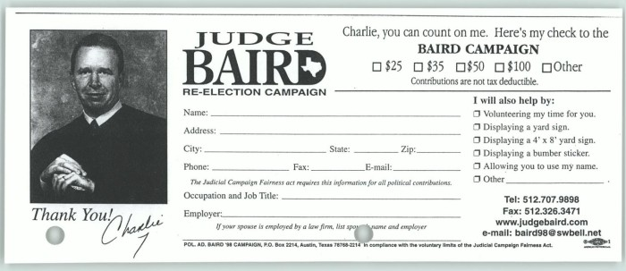 donation slip for the re election campaign of judge charlie baird