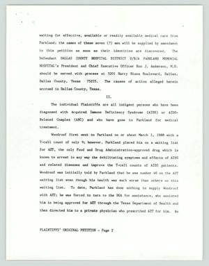 A white page with black text of 3 paragraphs. The bottom of the page says Plaintiff's Original Petition.