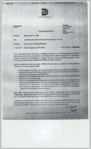 Primary view of object titled '[Copy of statement concerning the need for clean water for HIV/AIDS patients]'.