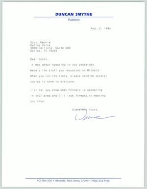 Primary view of [Letter: Duncan Smythe]