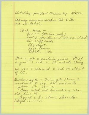 Primary view of object titled '[Handwritten notes: Interview with Ed Oakley]'.