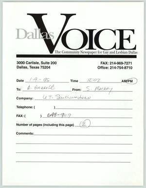 Primary view of object titled '[Fax: Dallas Voice discussing AIDS community issues]'.