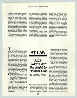 Primary view of object titled '[Article: AIDS, Judges, and the Right to Medical Care]'.