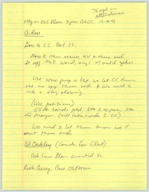 Primary view of object titled '[Handwritten notes: Meeting on OLC Plan]'.