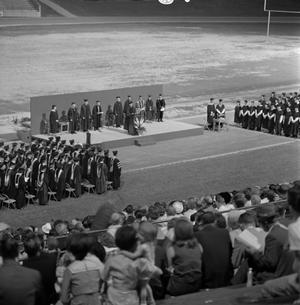 Primary view of object titled '[Commencement Ceremony on Fouts Field, 2]'.