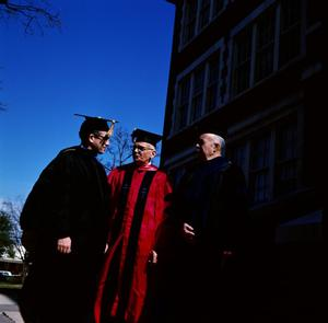 Primary view of object titled '[Faculty in Graduation Regalia for Commencement Ceremony, 3]'.