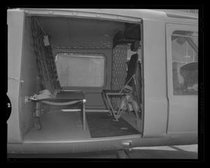 Primary view of object titled '[Cabin of the YH-40 with 1 litter and attendants seat in place]'.