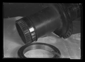 Primary view of object titled '[Worn part from an H-40 after a 150-hour ground run test]'.