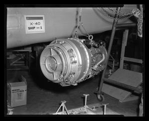 Primary view of object titled '[Lycoming YT53-L-1 turbine engine]'.