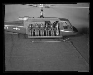 Primary view of object titled '[Scale model of an H-40 troop carrier, with troop seating installed]'.