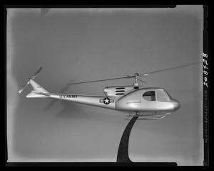 Primary view of object titled '[Model of the 204 helicopter, mounted on a stand]'.