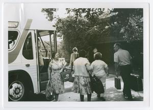 Primary view of object titled '[Betty Mason Getting Off A Bus at Wingspread]'.