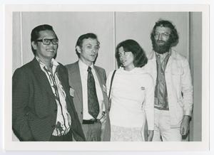 Primary view of object titled '[Ronald J. Grele, Sam Tan, Annemarie Tröger, and Paul Thompson Standing Together]'.