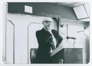 Primary view of object titled '[Wendell Wray Speaking at Podium]'.