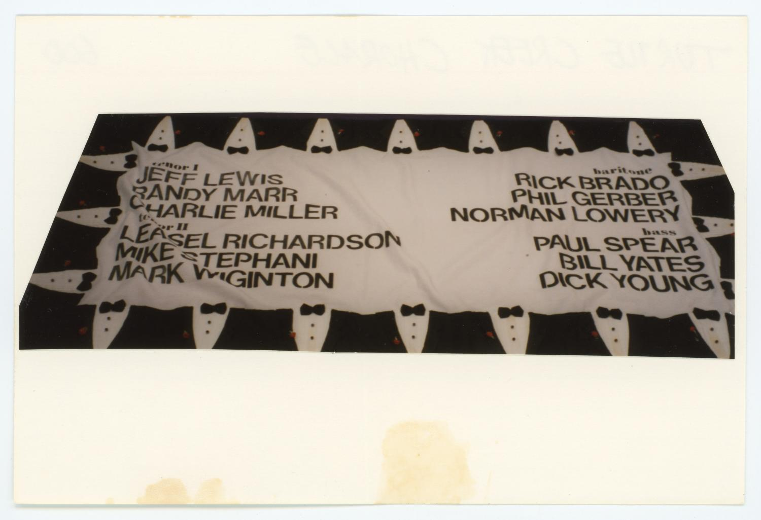"""[AIDS Memorial Quilt Panel for Turtle Creek Chorale], Photograph of AIDS Memorial Quilt Panel for Turtle Creek Chorale. Quilt block number is 0600. Photograph of quilt has been cropped and mounted to a 4"""" x 6"""" index card.,"""