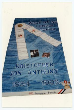 Primary view of object titled '[AIDS Memorial Quilt Panel for Kristopher Jon Anthony]'.