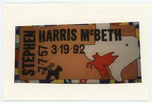 Primary view of object titled '[AIDS Memorial Quilt Panel for Stephen Harris McBeth]'.