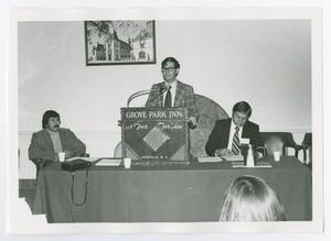 Primary view of object titled '[Man Speaking at Grove Park Inn Podium]'.