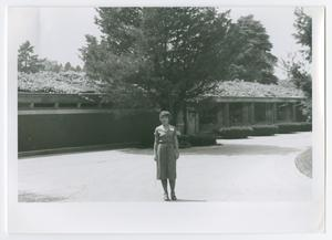 Primary view of object titled '[Nancy Whistler in Front of Wingspread]'.
