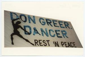 Primary view of object titled '[AIDS Memorial Quilt Panel for Don Greer]'.