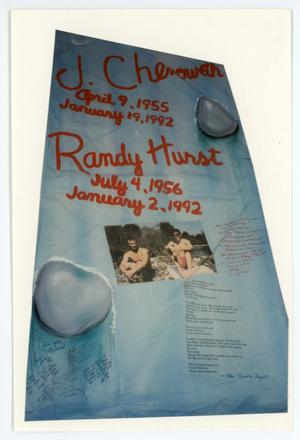 Primary view of object titled '[AIDS Memorial Quilt Panel for J. Chenoweth]'.