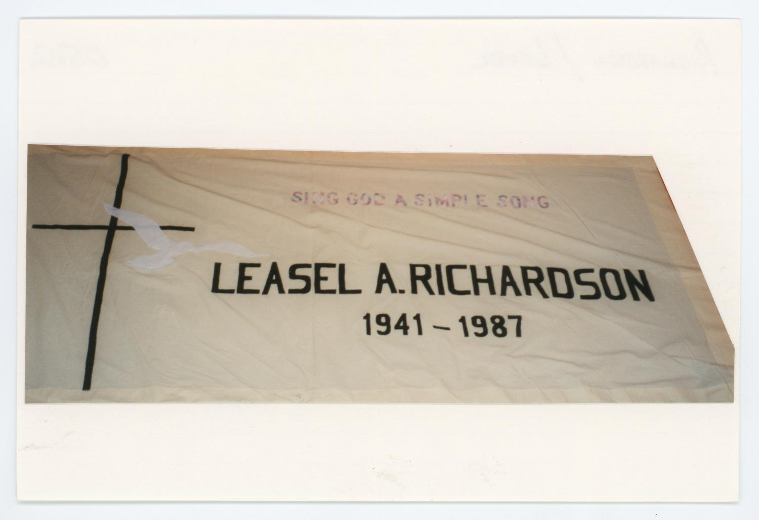"""[AIDS Memorial Quilt Panel for Leasel A. Richardson], Photograph of AIDS Memorial Quilt Panel for Leasel A. Richardson. Block number is 0502. Photograph of quilt has been cropped and mounted to a 4"""" x 6"""" index card.,"""