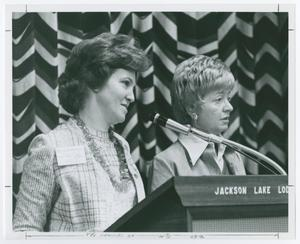 Primary view of object titled '[Marcia Frumerman and Unidentified Speaker at Podium]'.