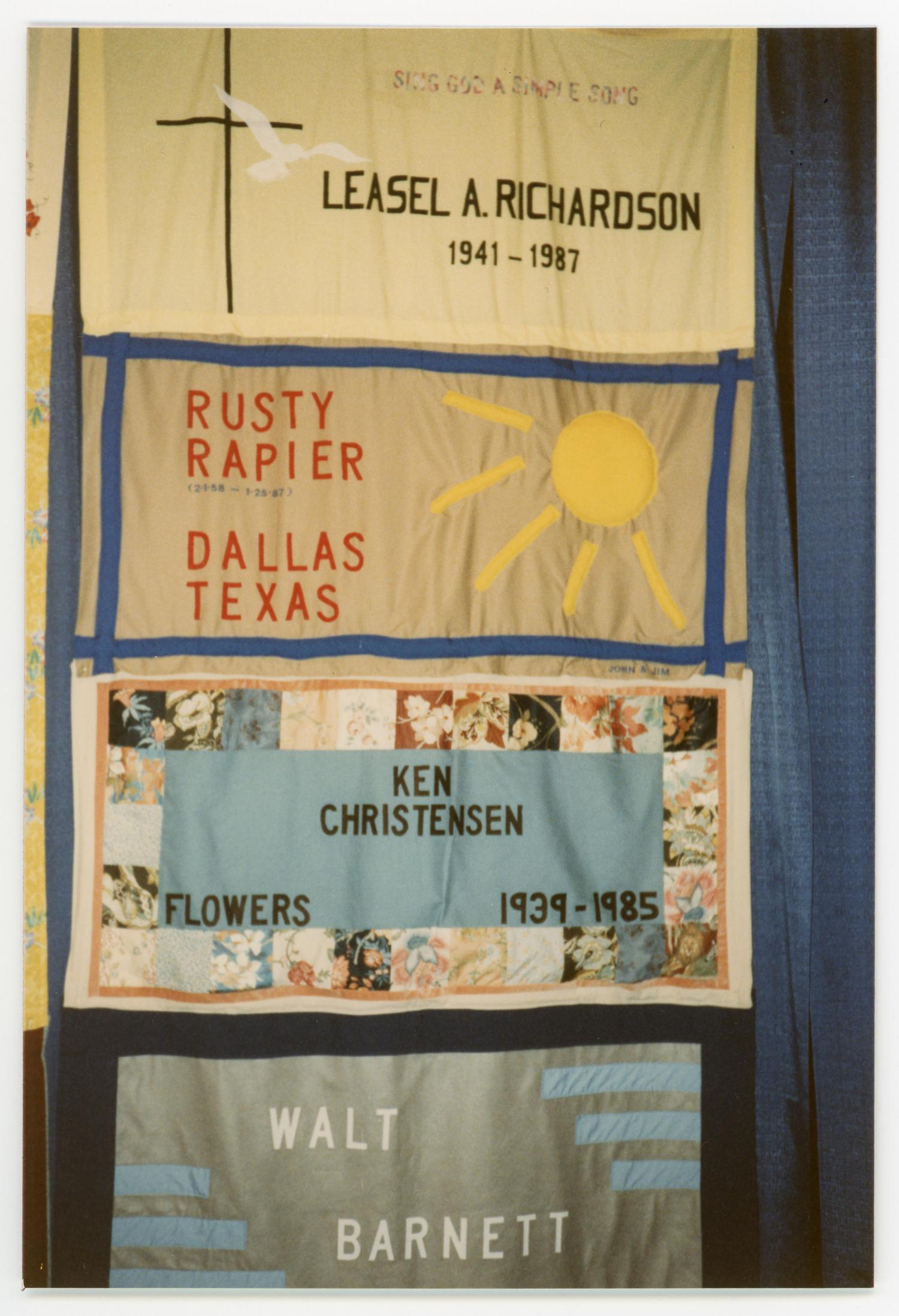 [Quilt Section with Dedications to Leasel A. Richardson, Rusty Rapier, Ken Christensen, and Walt Barnett], Photograph of a section of the AIDS memorial quilt with panels dedicated to Leasel A. Richardson, Rusty Rapier, Ken Christensen, and Walt Barnett.,