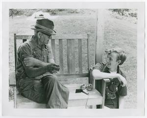 Primary view of object titled '[Tim Morris Interviewing Ted Jewel]'.